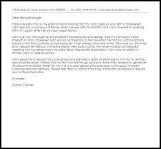 lawyer re mendation letter