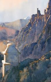 value to color in watercolor painting the ruins of hankar ladakh by michael reardon