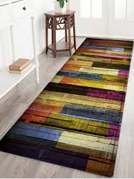 affordable colorful wood flooring pattern water absorption area rug colormix w24 inch l71 inch