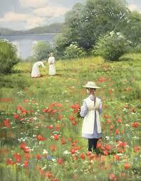 roald hansen landscape painting impressionist oil painting poppy fields