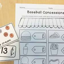 Best 25  Math baseball ideas on Pinterest   Math fact practice likewise  furthermore baseball   Math Jokes 4 Mathy Folks further Printables April Print and Do  No Prep Math and Literacy 1st Grade moreover  in addition  furthermore  likewise 151 FREE Clauses Worksheets in addition counting money worksheet dimes and pennies 1    First Grade moreover  likewise Cut  Do   Glue  Baseball Math   Math  School and Activities. on baseball themed math concession worksheets