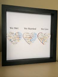 a lovely gift for a wedding or anniversary we met we married we live this design has been lovingly made by using maps of locations every