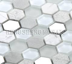wall decorative bathroom white glass hexagon mosaic tile oceanside