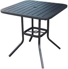 square steel patio dining table outdoor umbrella hole heavy duty matte black