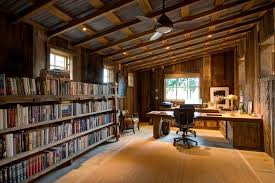 home office pottery barn. Pottery-barn-bookcase-Home-Office -Rustic-with-exposed-beams-library-wallceiling-fan-sisal-area Home Office Pottery Barn I