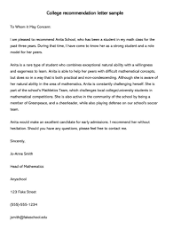 Samples Of Letters Of Recommendation For College College Recommendation Letter 10 Sample Letters Free