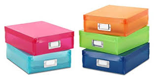 Whitmor Plastic Document Boxes Assorted Colors Set Of 5