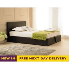 6ft Super King Size Madrid Brown Faux Leather Storage Bed Free Next Day  Delivery