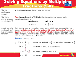 pre algebra multiplicative inverse the reciprocal of a number rule inverse property of