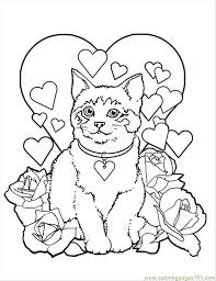 Valentine Cat Coloring Page Printable Coloring Page For Kids