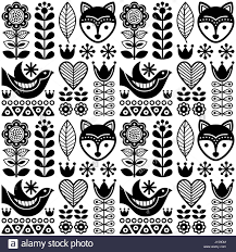 Nordic Pattern Delectable Scandinavian Seamless Folk Art Pattern Black Finnish Design
