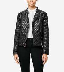Women's Italian Smooth Lambskin Quilted Moto Jacket in Black ... & Outerwear > Italian Smooth Lambskin Quilted Moto Jacket Adamdwight.com