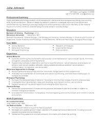 Adorable Psychology Resume Summary In Professional Animal Behavior