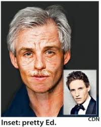 the 34 year old actor was clearly wearing a great deal of makeup to make him look like an old man and even walked hunched over with a ounced limp