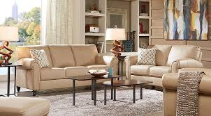 D Cindy Crawford Home Lusso Taupe Leather 7 Pc Living Room   Rooms Beige
