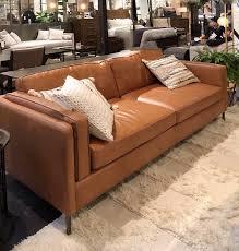caramel colored leather sofa