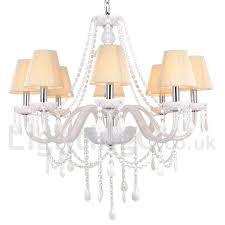 8 light white dining room bedroom living room k9 crystal candle style chandelier