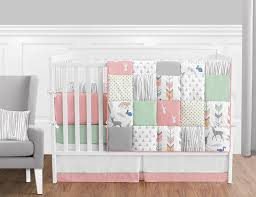 girl baby furniture. Amazon.com : Sweet Jojo Designs 9-Piece Coral, Mint And Grey Woodsy Deer Girls Baby Bedding Crib Set With Bumper Girl Furniture T