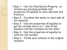 step 1 use the distributive property to remove any grouping symbols