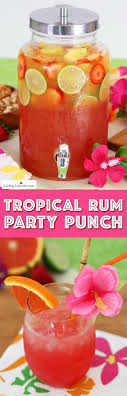 Summer Luau Party Ideas! Tropical rum punch is a delicious summer cocktail  recipe for a