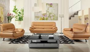 bella modern genuine leather sofa set