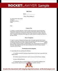 Sample Bid Proposal Template Bid Form Bid Proposal Template For Contractor
