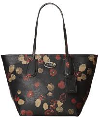 NWT Coach 33964 Large Black Floral Embossed Leather Zip Top Taxi Tote Bag