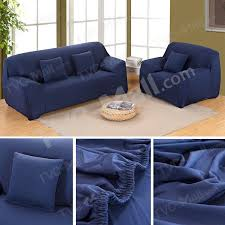 solid color tight universal elastic two seater sofa cover slipcover dark blue 1