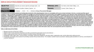 Group Procurement Manager Resume Cover Letter Cv Letters