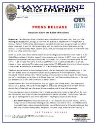 Press Release Format 2020 Press Releases Hawthorne Police