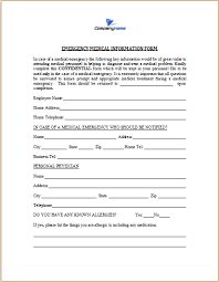 Medical Forms Templates Emergency Medical Form Template 11 Emergency Contact Forms Pdf Doc