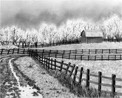farm fence drawing. Original Pencil Drawing ~ $1250 Plus S/h. \ Farm Fence D