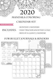 2020 Printable Calendar Template Set Mandala