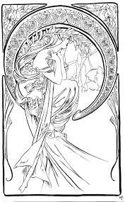 Adult Coloring Pages Art Nouveau Woman Coloring Pages 216 Best