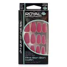 Royal Cosmetic Royal Umělé Nehty Matné Růžovo Vínové Nalepovací S Lepidlem Pink Bon Bon Coffin 24 Glue On False Nails Tips 24ks S Lepidlem 3g