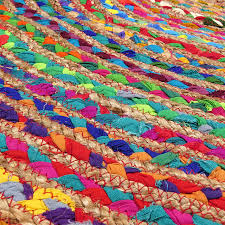 round colorful natural jute chindi sisal woven area braided boho rug 4 to 8 ft