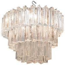 venini chandelier with three tiers of glass triedri prisms