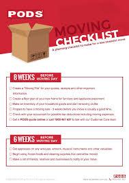 Moving Checklist Moving Self Storage Pods Australia
