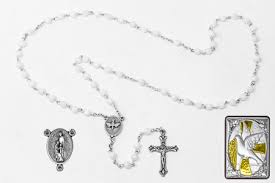 mother of pearl confirmation rosary gift set