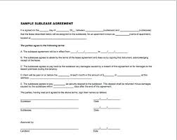 Basic Sublease Agreement Template Sample Car Standard Commercial ...