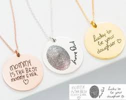 handwriting necklace custom handwriting jewelry signature disc necklace fingerprint necklace mothers gift memorial gift nm20