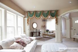 Green Chenille Swag Valance Curtains  Traditional  Living Room Traditional Living Room Curtains