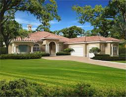 beautiful rendering of a florida style home with side entry garage and stucco finish