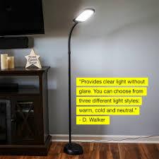 Litespan 2 Bright Led Reading Floor Lamp Free Standing Gooseneck