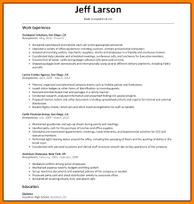 Sample Of Receptionist Resume Sample Business Proposal Document