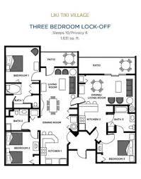 Liki Tiki Village Three Bedroom Floor Plan