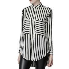 high quality office work. down collar women striped shirt office work clothes high quality