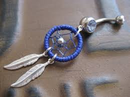 Dream Catcher Belly Button Rings Jewels blue dream catcher feathers belly button ring belly 58