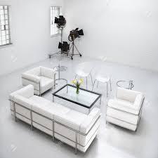 Wit Woonkamer Meubels In Een Witte Fotografie Studio Met Commerciële