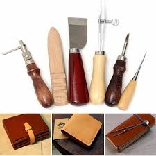 6pcs wood handle leather craft tool kit leather hand sewing tool punch cutter di trade me